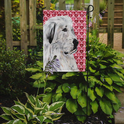 Carolines Treasures  SC9714GF Great Pyrenees Hearts and Love Flag Garden Size