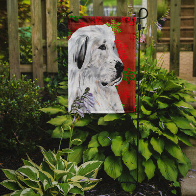 Great Pyrenees Red Snowflakes Holiday Flag Garden Size