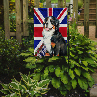Bernese Mountain Dog with English Union Jack British Flag Flag Garden Size