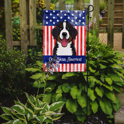 God Bless American Flag with Bernese Mountain Dog Flag Garden Size