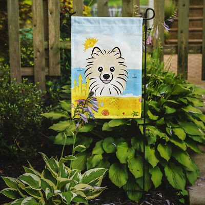 Carolines Treasures  BB2075GF Pomeranian Summer Beach Flag Garden Size