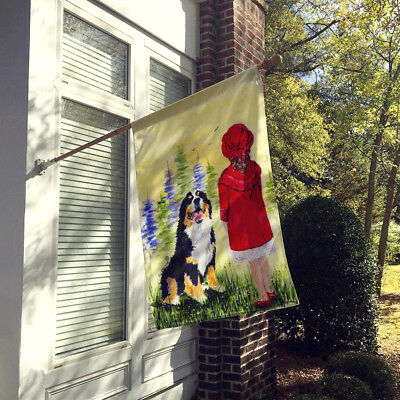 Little Girl with her Bernese Mountain Dog Flag Canvas House Size