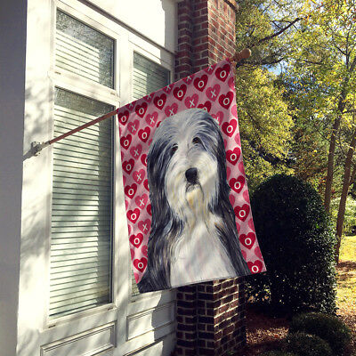 Bearded Collie Hearts Love and Valentine's Day Portrait Flag Canvas House Size