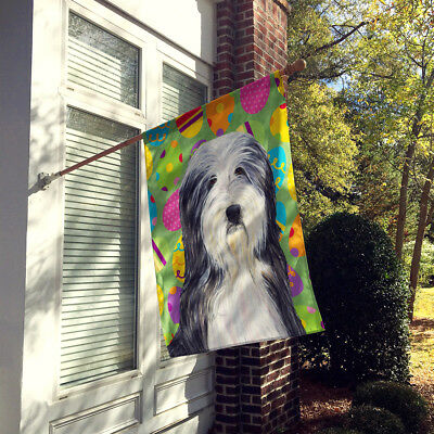 Carolines Treasures  SS4842CHF Bearded Collie Easter Eggtravaganza Flag Canvas H