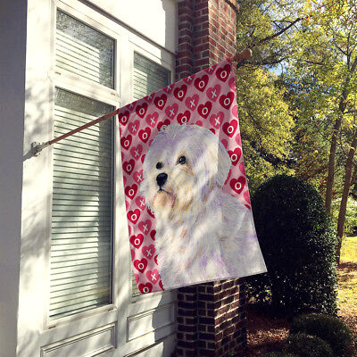 Maltese Hearts Love and Valentine's Day Portrait Flag Canvas House Size