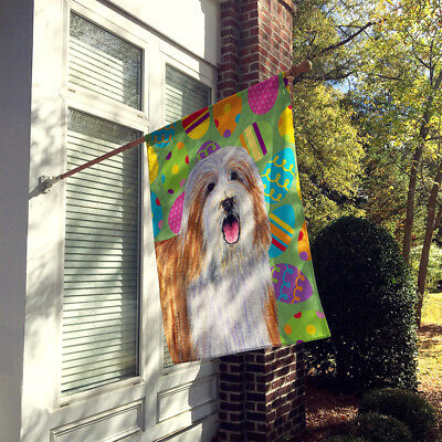 Carolines Treasures  LH9420CHF Bearded Collie Easter Eggtravaganza Flag Canvas H