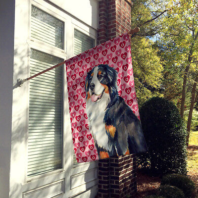 Bernese Mountain Dog Hearts Love and Valentine's Day  Flag Canvas House Size