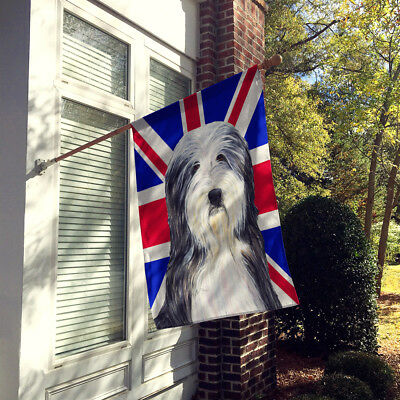 Bearded Collie with English Union Jack British Flag Flag Canvas House Size