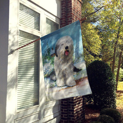Old English Sheepdog by Don Squires Flag Canvas House Size