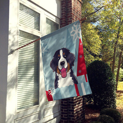 Winter Holiday Bernese Mountain Dog Flag Canvas House Size