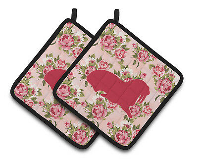 Walrus Shabby Chic Pink Roses  Pair of Pot Holders