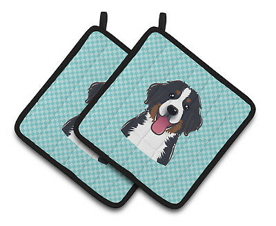 Checkerboard Blue Bernese Mountain Dog Pair of Pot Holders