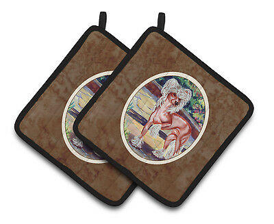 Carolines Treasures  7021PTHD Chinese Crested on the Patio Pair of Pot Holders