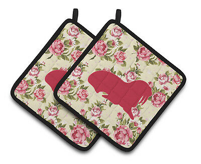 Walrus Shabby Chic Yellow Roses  Pair of Pot Holders