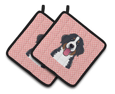 Checkerboard Pink Bernese Mountain Dog Pair of Pot Holders