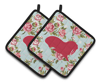 Walrus Shabby Chic Blue Roses   Pair of Pot Holders