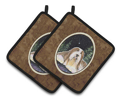 Carolines Treasures  SS8529PTHD Starry Night Bearded Collie Pair of Pot Holders