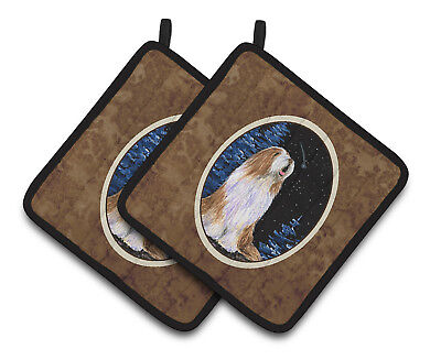 Carolines Treasures  SS8467PTHD Starry Night Bearded Collie Pair of Pot Holders