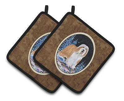 Carolines Treasures  SS8451PTHD Starry Night Bearded Collie Pair of Pot Holders
