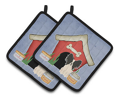 Dog House Collection Papillon Black White Pair of Pot Holders