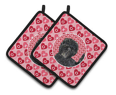 Affenpinscher Hearts Love and Valentine's Day Portrait Pair of Pot Holders