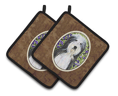 Carolines Treasures  SS8022PTHD Bearded Collie Pair of Pot Holders