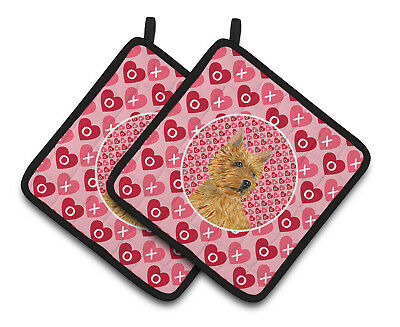 Norwich Terrier Hearts Love and Valentine's Day Portrait Pair of Pot Holders