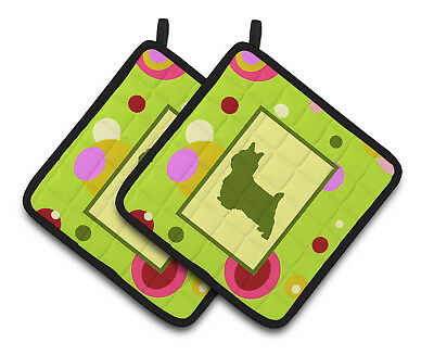 Lime Green Dots Norwich Terrier Pair of Pot Holders