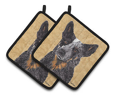 Australian Cattle Dog Wipe your Paws Pair of Pot Holders