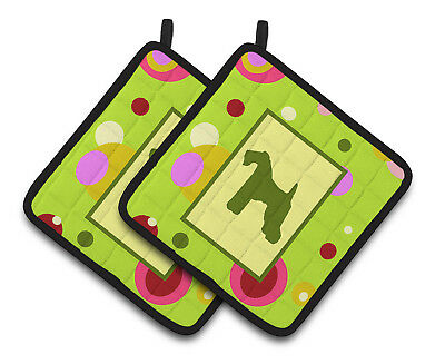 Lime Green Dots Kerry Blue Terrier Pair of Pot Holders