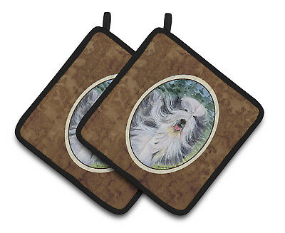 Carolines Treasures  SS8037PTHD Bearded Collie Pair of Pot Holders