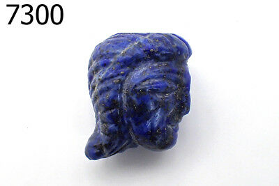 Very Rare Egyptian Natural Lapis Carved Lady Face w/Hair IDOL BEAD Pendant #7300