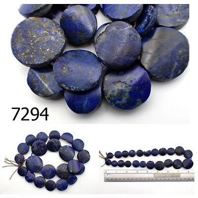 Ancient Egypt Style BRIGHT BLUE Lapis w/Pyrite Carved Coin Bead Strand #7294