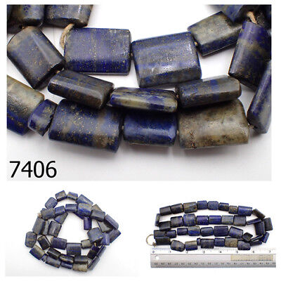 Ancient Egypt Style BRIGHT BLUE Lapis w/Pyrite Carved Tablet Bead Strand #7406