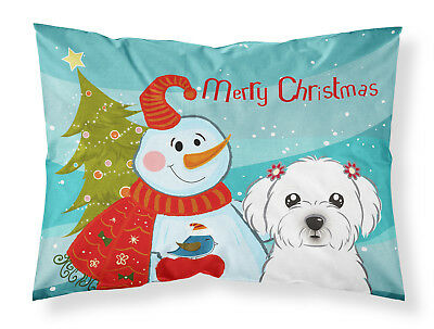 Snowman with Maltese Fabric Standard Pillowcase