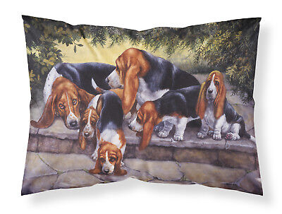Basset Hound Puppies, Momma and Daddy Fabric Standard Pillowcase
