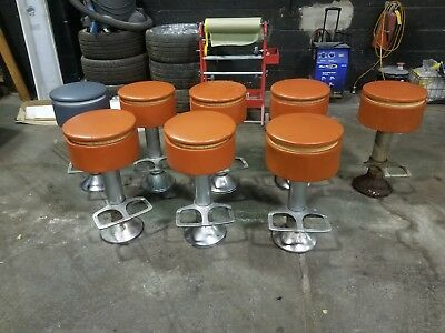 Vintage Antique Cast Iron Soda Fountain Swivel Stools Set of 9