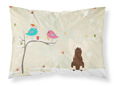 Christmas Presents between Friends Chinese Crested Cream Fabric Standard Pillowc