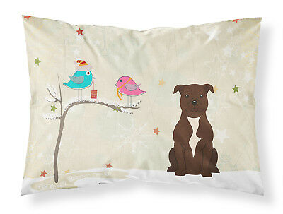 Christmas Presents between Friends Staffordshire Bull Terrier Chocolate Fabric S