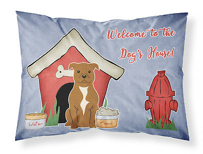 Dog House Collection Staffordshire Bull Terrier Brown Fabric Standard Pillowcase