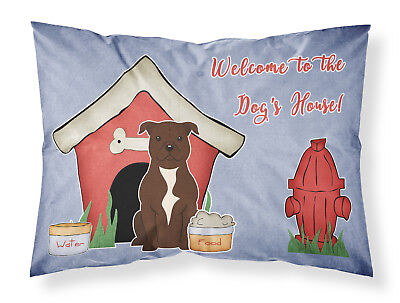 Dog House Collection Staffordshire Bull Terrier Chocolate Fabric Standard Pillow