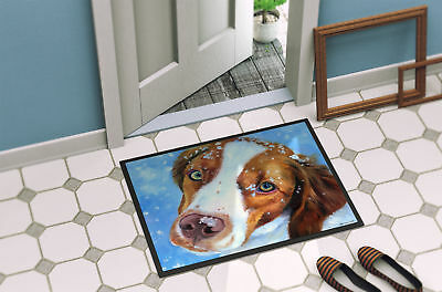 Snow Baby Brittany Spaniel Indoor or Outdoor Mat 18x27