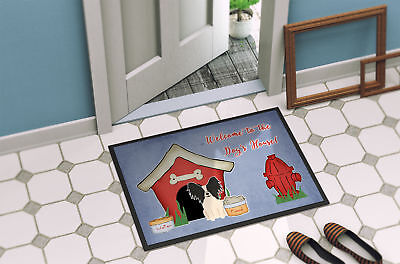 Dog House Collection Papillon Black White Indoor or Outdoor Mat 18x27