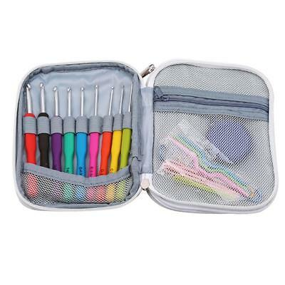 Crochet Hooks Kit Yarn Knitting Needles Sewing Tool Ergonomic Grip Bag Set KI