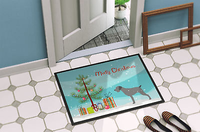 German Wirehaired Pointer Merry Christmas Tree Indoor or Outdoor Mat 24x36