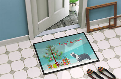 Bearded Collie Dog Merry Christmas Tree Indoor or Outdoor Mat 18x27