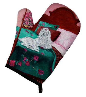 Carolines Treasures  7110OVMT Maltese and puppy waiting on you Oven Mitt