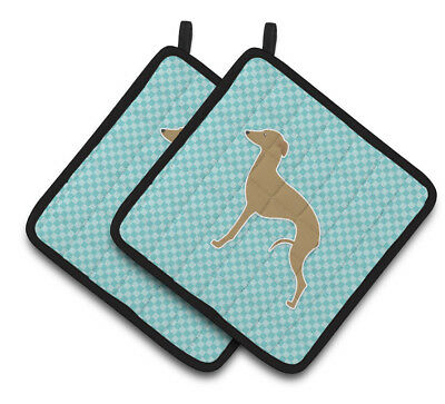 Italian Greyhound Checkerboard Blue Pair of Pot Holders