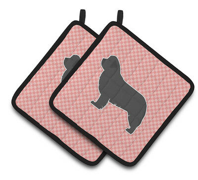 Newfoundland Checkerboard Pink Pair of Pot Holders