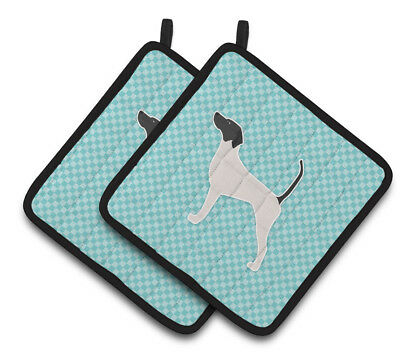 English Pointer  Checkerboard Blue Pair of Pot Holders